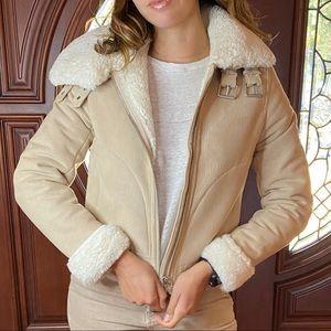 H&M Faux Fur Lining Suede Moto Jacket Beige Sz 2